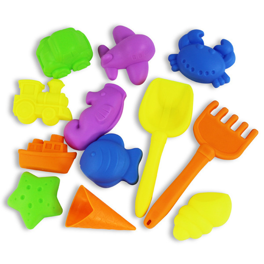 12PCS Beach Sand Toys, Outgeek Colorful Plastic Non-toxic Summer Beach Toys Sand Play Set for Kids Children by Outgeek