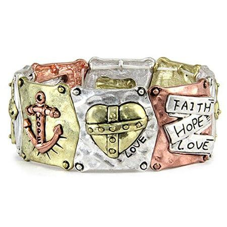 Faith Hope Love Stretch Bracelet Christian Cross Anchor Scripture Jewelry