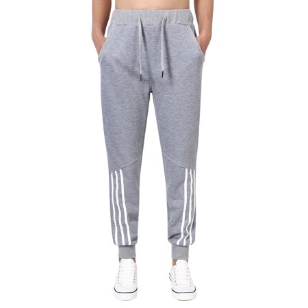 Teen Boys Active Wear Light Drawstring Waist Striped Sweatpants Jogger Pants (M, Grey)