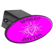 """Spoiled Rotten, Diamonds 2"""" Oval Tow Trailer Hitch Cover Plug Insert"""