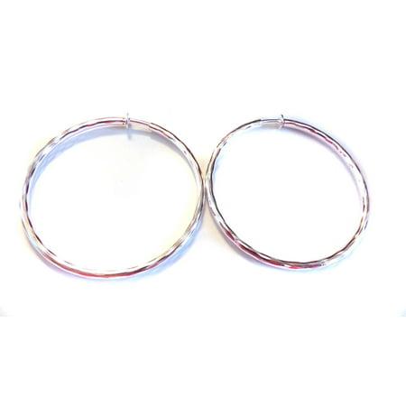 Clip On Earrings Hypoallergenic Hoop 3 Inch Rhodium Silver