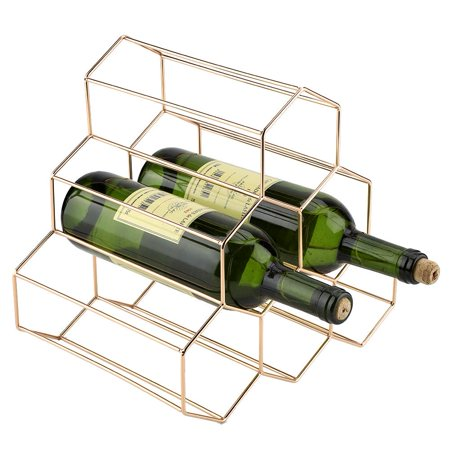 Yosoo Wine Rack, Modern Geometric Shape Wine Rack Holder Metal Home Bar Compact Wine Bottles Display Shelf for Bottles - Perfect for Bar, Wine Cellar, Basement, Cabinet, Pantry, etc 2 Bottle Wine Holder