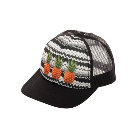 Women's Pineapple Snapback Hat with Print Foam Front Panel and Mesh - Foam Cowgirl Hats