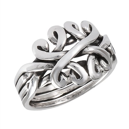 Pearl Celtic Knot Ring (Sterling Silver Celtic Knot Puzzle Band Ring)
