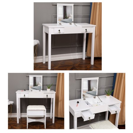Peroptimist Simple and Stylish Dresser Table. Flip Single Mirror Double Drawers Straight Feet Dresser White with White Dressing Stool