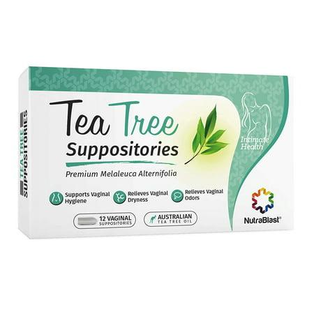 Nutrablast Tea Tree Oil Suppositories | All Natural Intimate Deodorant for Women | Restore Feminine pH Balance | Made in USA (12 Count) (Feminine Owl)