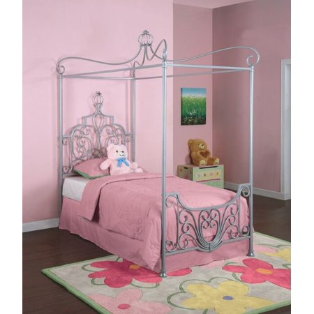 Metal Canopy Twin Bed, Sparkle Silver (Silver Canopy Bed)