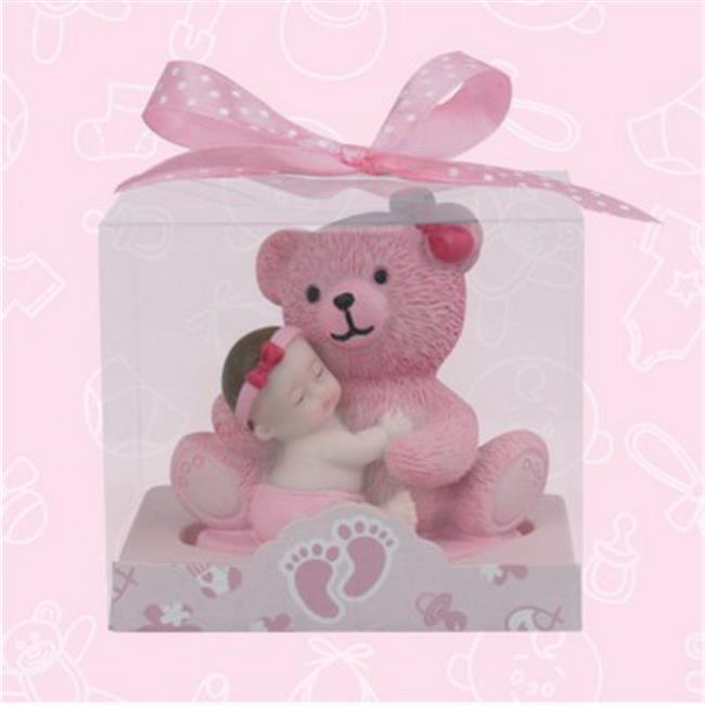 De Yi 21016W-PK Baby Shower Baby and Teddy Bear Favors in Pink