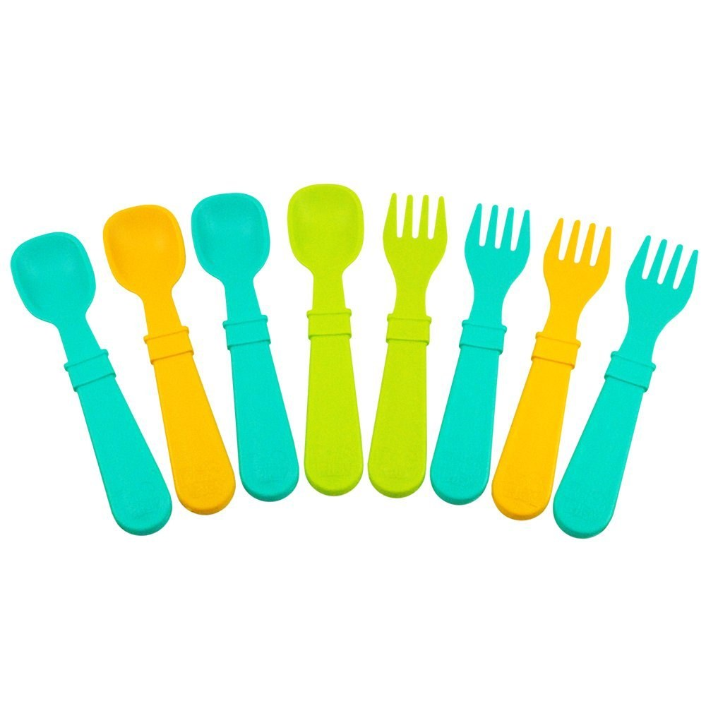 Re-Play 4 Spoons and 4 Forks Aqua Green Orange by Dandelion