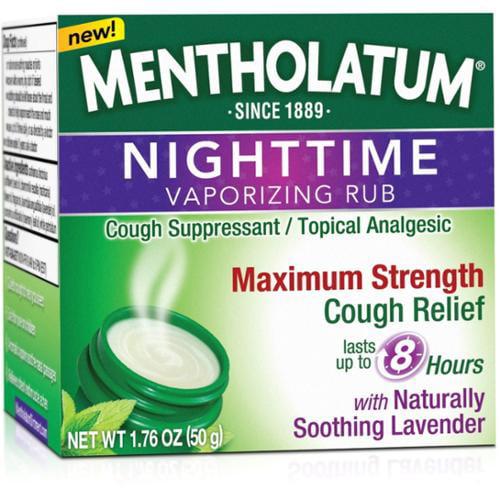 Mentholatum Nighttime Vaporizing Rub Maximum Strength Cough Relief, 1.76 oz (Pack of 2)
