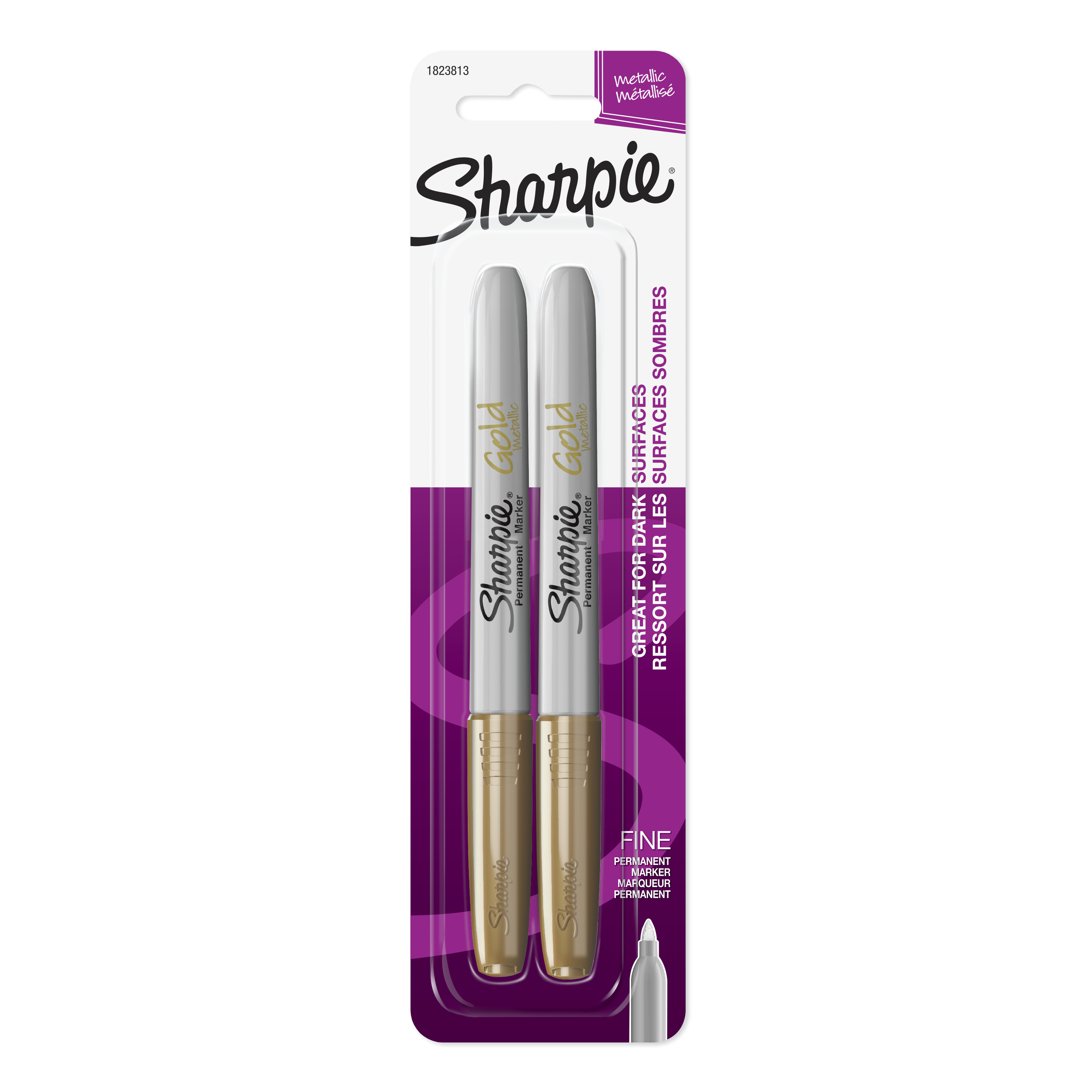Sharpie Metallic Fine Point Permanent Markers 2/Pkg Gold