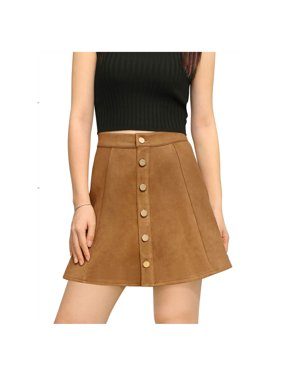 Women's Mid Rise Button Closure Front Bonded Suede A-Line Mini Skirt Dress