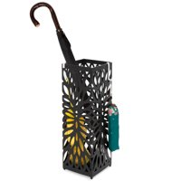 Best Choice Products Modern Square Metal Entryway Umbrella Storage Stand W/ 2 Hooks, Drain Tray, Floor Protection, Black