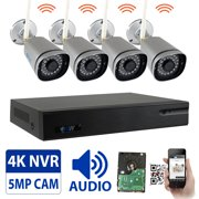 5-Megapixel Video & Audio Wireless Security Camera System 9CH 4K NVR with 4 x 5MP HD 1920P WiFi IP Cameras and 1TB HDD, Built-In Microphone, Weatherproof, 100FT IR Night Vision