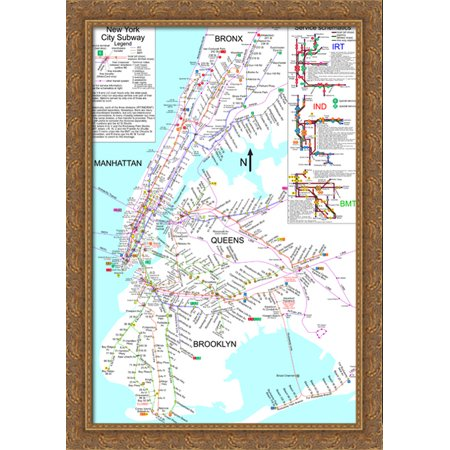 Large Ny Subway Map.New York City Subway Map 28x40 Large Gold Ornate Wood Framed Canvas Art