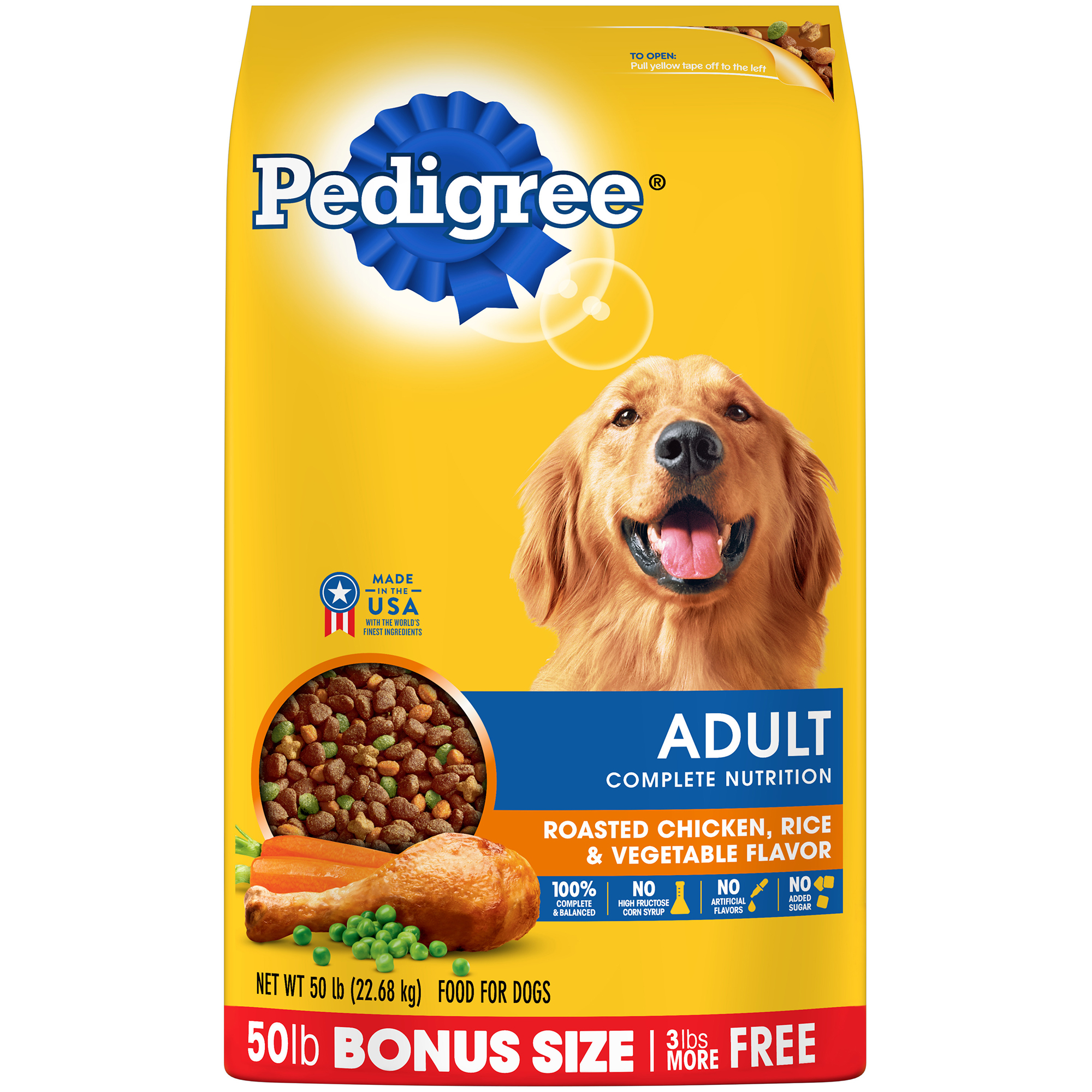 PEDIGREE Complete Nutrition Adult Dry Dog Food Roasted Chicken, Rice & Vegetable Flavor, 50 lb. Bag