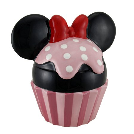 Disney Minnie Mouse Ears Pink Polka Dots Ceramic Cupcake Cookie - Halloween Cupcake In A Jar