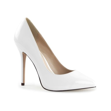 Womens White Pumps Shoes Pointed Toe Pumps Classic Stilettos 5 Inch Heels