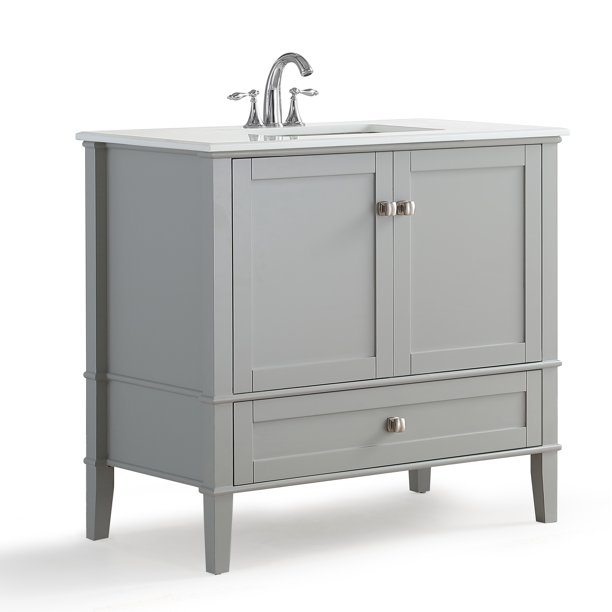 Simpli Home Chelsea 36 Bath Vanity With White Quartz Marble Top Walmart Com Walmart Com