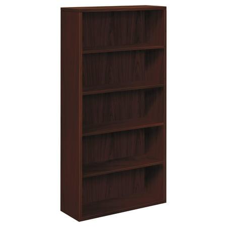 - HON 10500 Series Laminate Bookcase, Five-Shelf, 36w x 13-1/8d x 71h, Mahogany