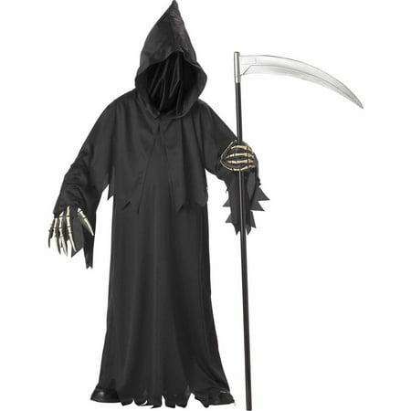 Grim Reaper Deluxe with Vinyl Hands Boys' Child Halloween Costume (Party Boy Costume Rental)