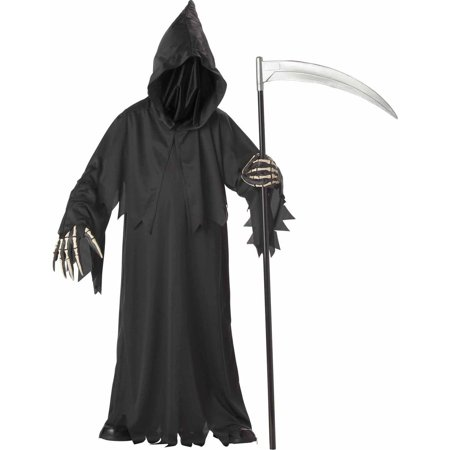 Grim Reaper Deluxe with Vinyl Hands Boys' Child Halloween Costume - Black Dress Halloween Costume Diy