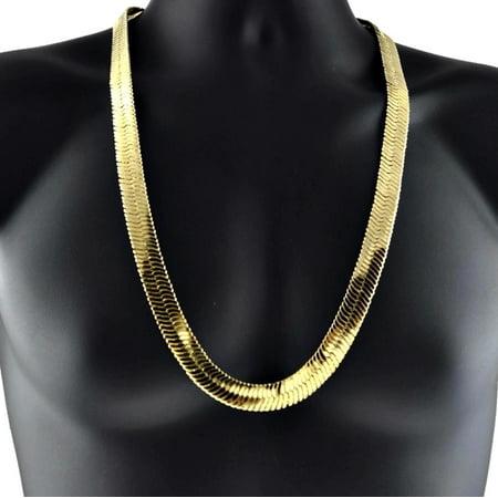 Mens 14k Yellow Gold Plated Herringbone Chain 30