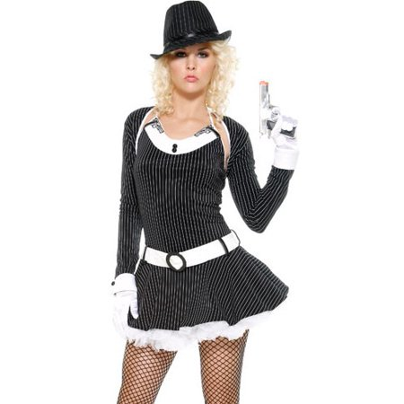 Sexy Adult Womens Halloween Costumes Naughty Gangster Mobster Moll Mafia Mama Dress Costume Theme Party - Gangster Moll Costumes