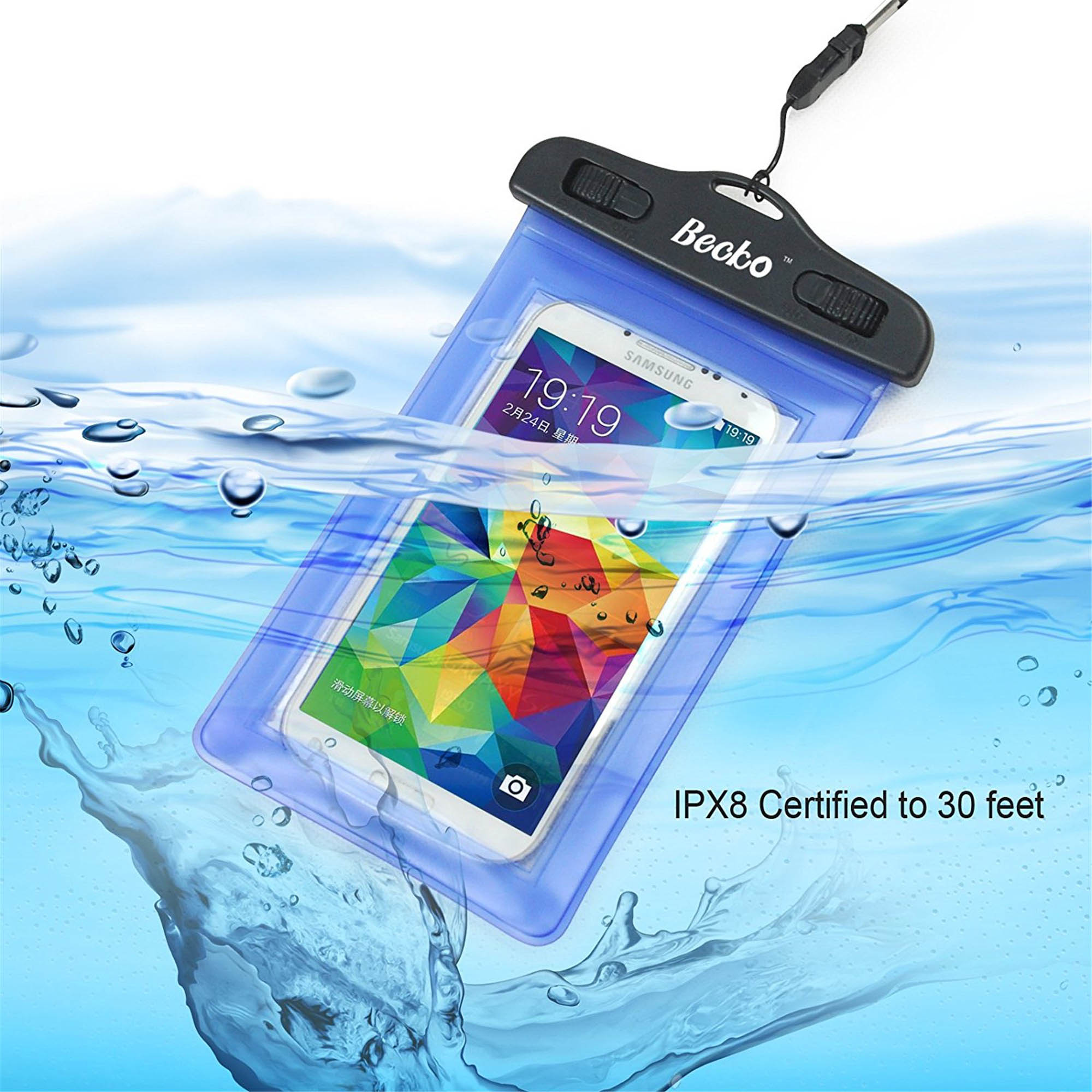 "Becko Blue 4.7"" Waterproof Cell Phone Pouch with Arm Band"