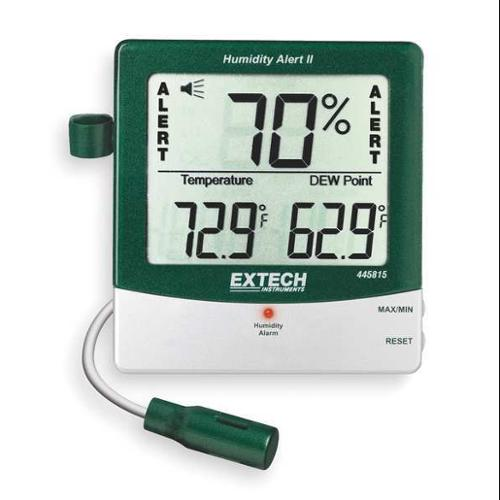 EXTECH 445815 Digital Hygrometer, Alarm, 14 to 140 F