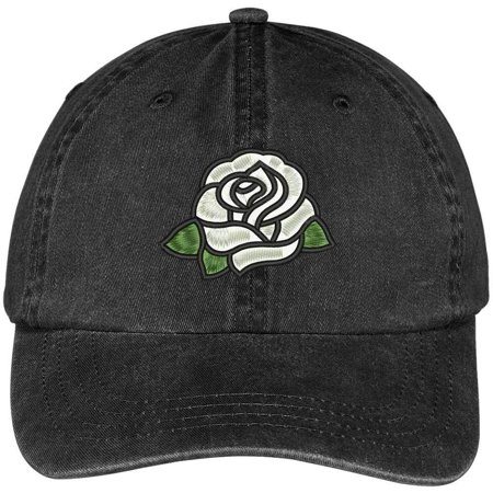 100 Rose (Trendy Apparel Shop Single White Rose Embroidered 100% Cotton Washed Low Profile Cap - Black )