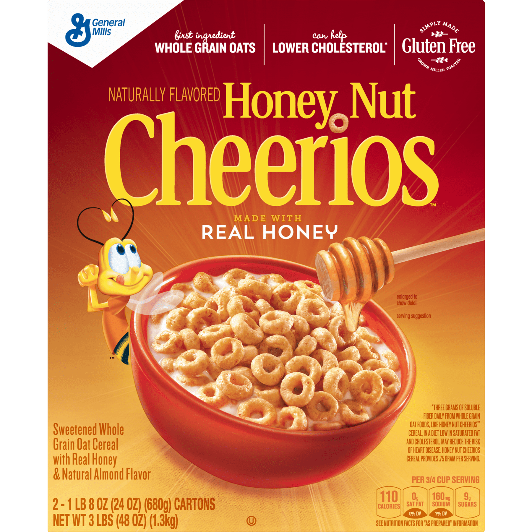 honey nut cheerios gluten free cereal, 48 oz - walmart