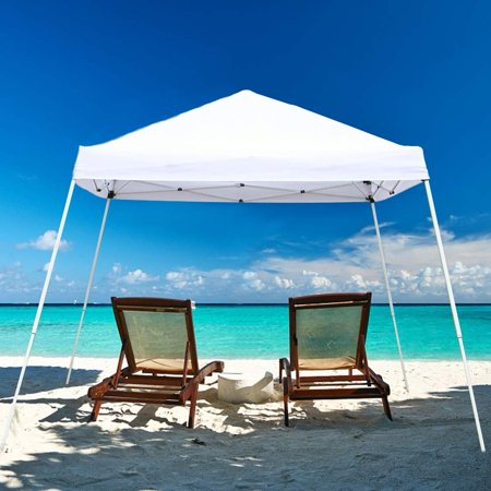 UBesGoo 10' x 10' Pop up Canopy Tent Ez up Portable UV Coated Outdoor Garden Commercial Instant Tent for Parties Shade Folding Slanting Leg Easy Set Up with Carry Bag,White