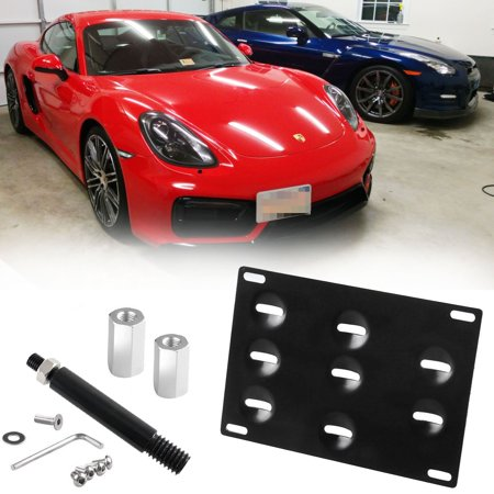 Xotic Tech Black Bumper Tow Hook License Plate Mounting Bracket for 2010-up Porsche Panamera