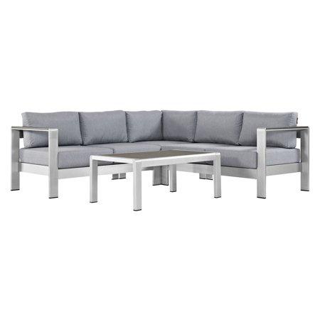 Shore 4pc Outdoor Patio Aluminum Sectional Sofa Set - Gray - Modway