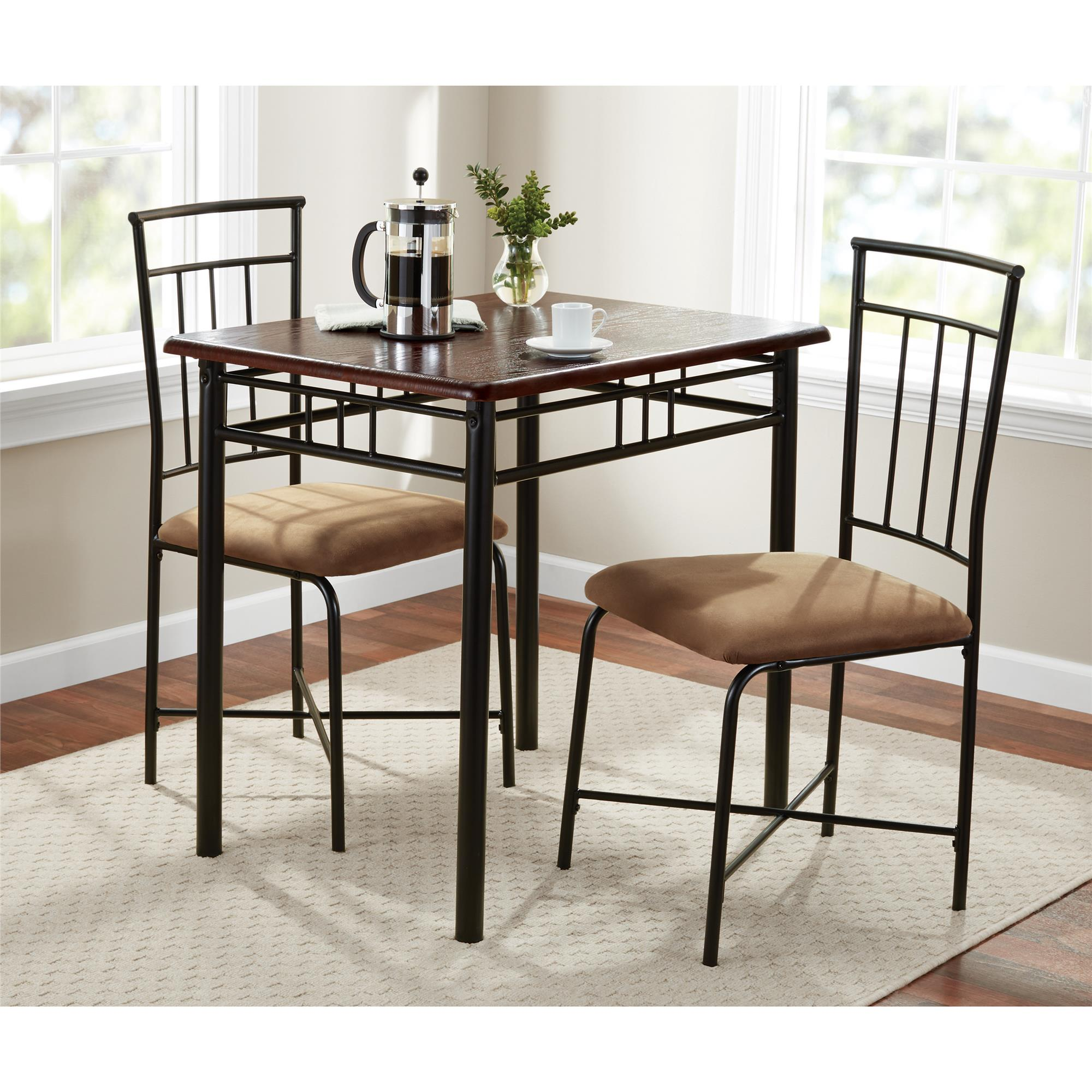 Wonderful Mainstays 3 Piece Wood And Metal Dining Set   Walmart.com