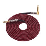 16.4 Feet Musical Instrument Audio Guitar Cable Cord 1/4 Inch Straight to Right-angle Gold-plated TS Plugs PVC Braided Fabric Jacket for Electric Guitar Bass Mixer Amplifier Equalizer