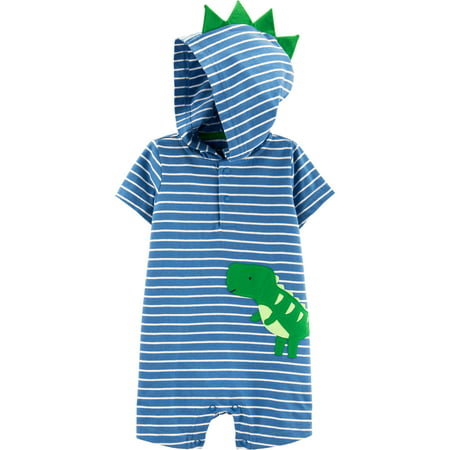 Short Sleeve Hooded Snap One Piece Romper, (Baby Boys)
