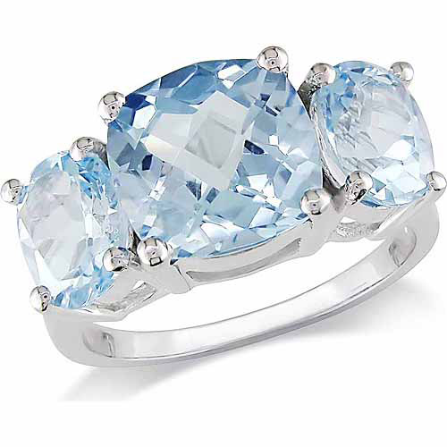 8-2/5 Carat T.G.W. Cushion and Round-Cut Blue Topaz Sterling Silver 3-Stone Ring