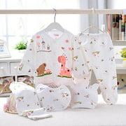 5Pcs Newborn Baby Boys Girls Cotton Outfit T-Shirt+ Pant Infant Clothes Set 0-3M