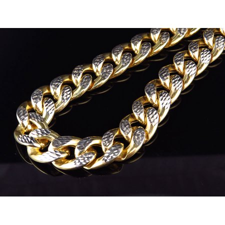 10K Yellow Gold Diamond Cut Miami Cuban Link 12.5MM Chain Necklace 28-36 Inch-30