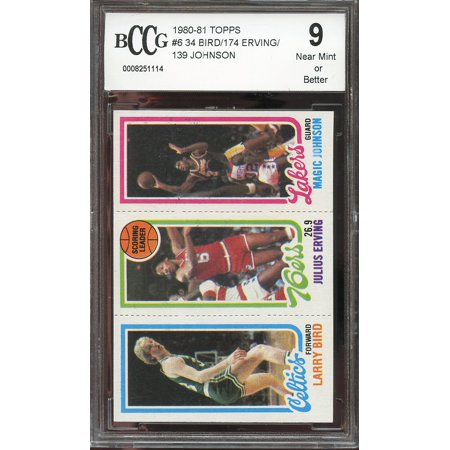 1980 81 Topps 6 34 Larry Bird Erving Magic Johnson Rookie Card Bgs Bccg 9
