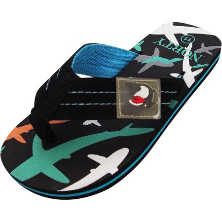 Norty Boys Shark Flip Flop Thong Sandal for Beach, Pool or Everyday - Runs One Size Small, 40646 Black/Turquoise /