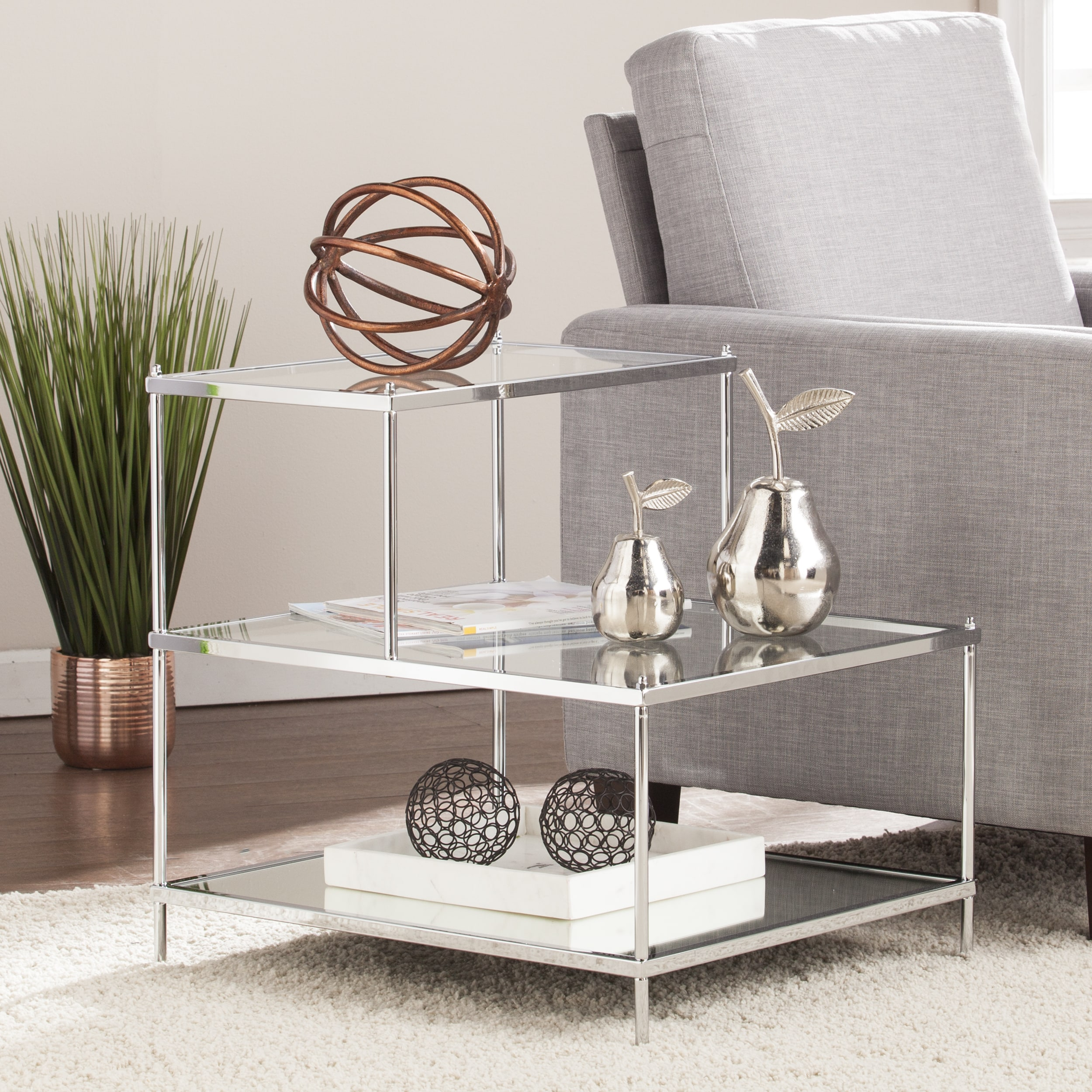 Harper Blvd Knowles Glam Mirrored Accent Table Chrome