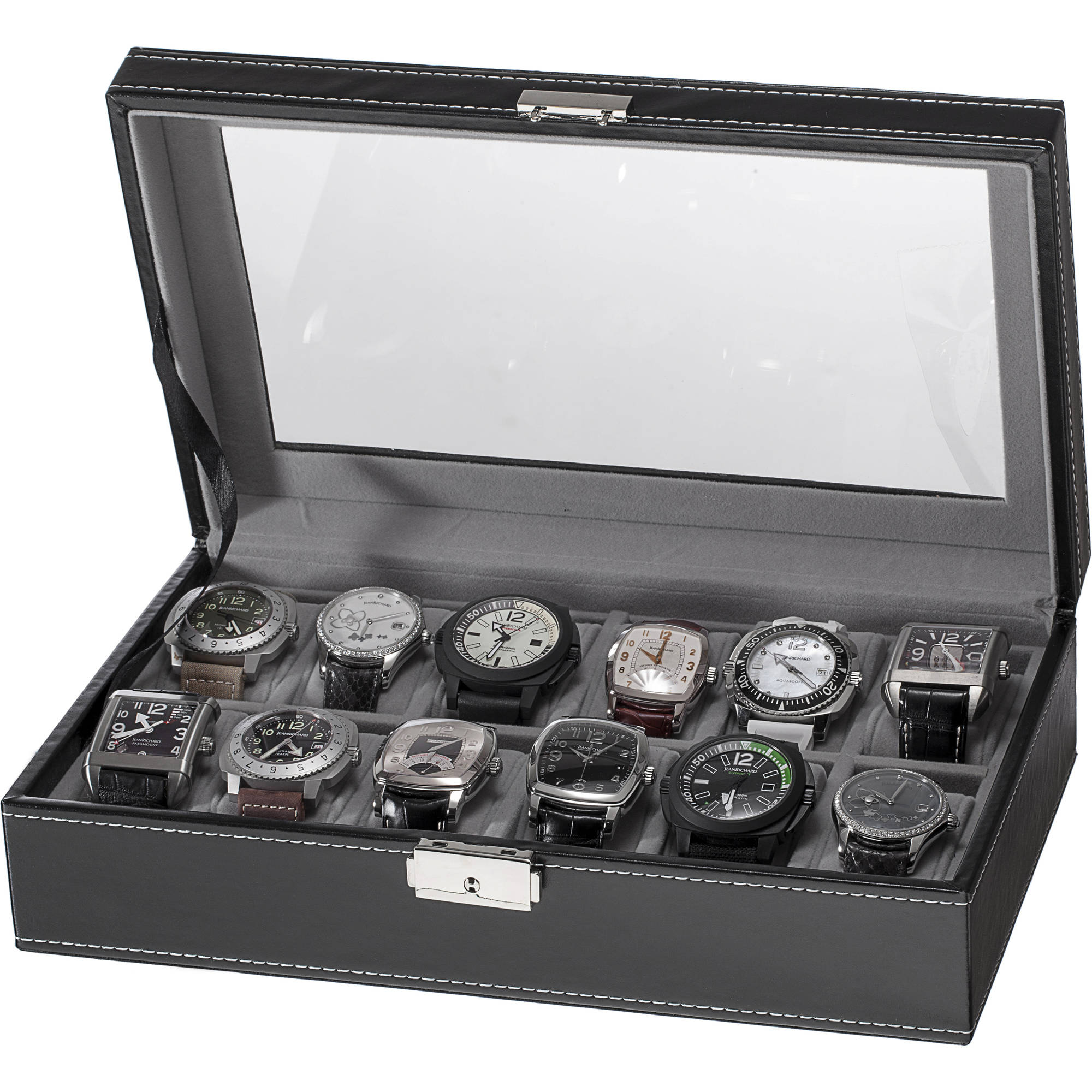 12-Slot Watch Box, Black