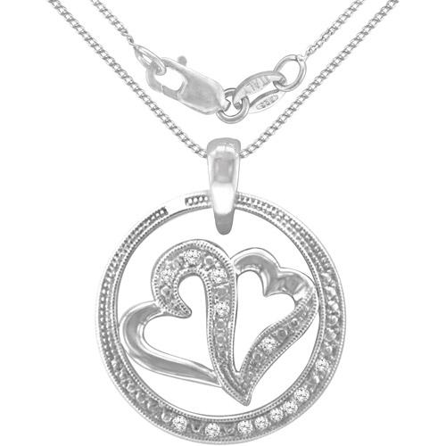 Heart 2 Heart 1/4 Carat Diamond Sterling Silver Fashion Pendant