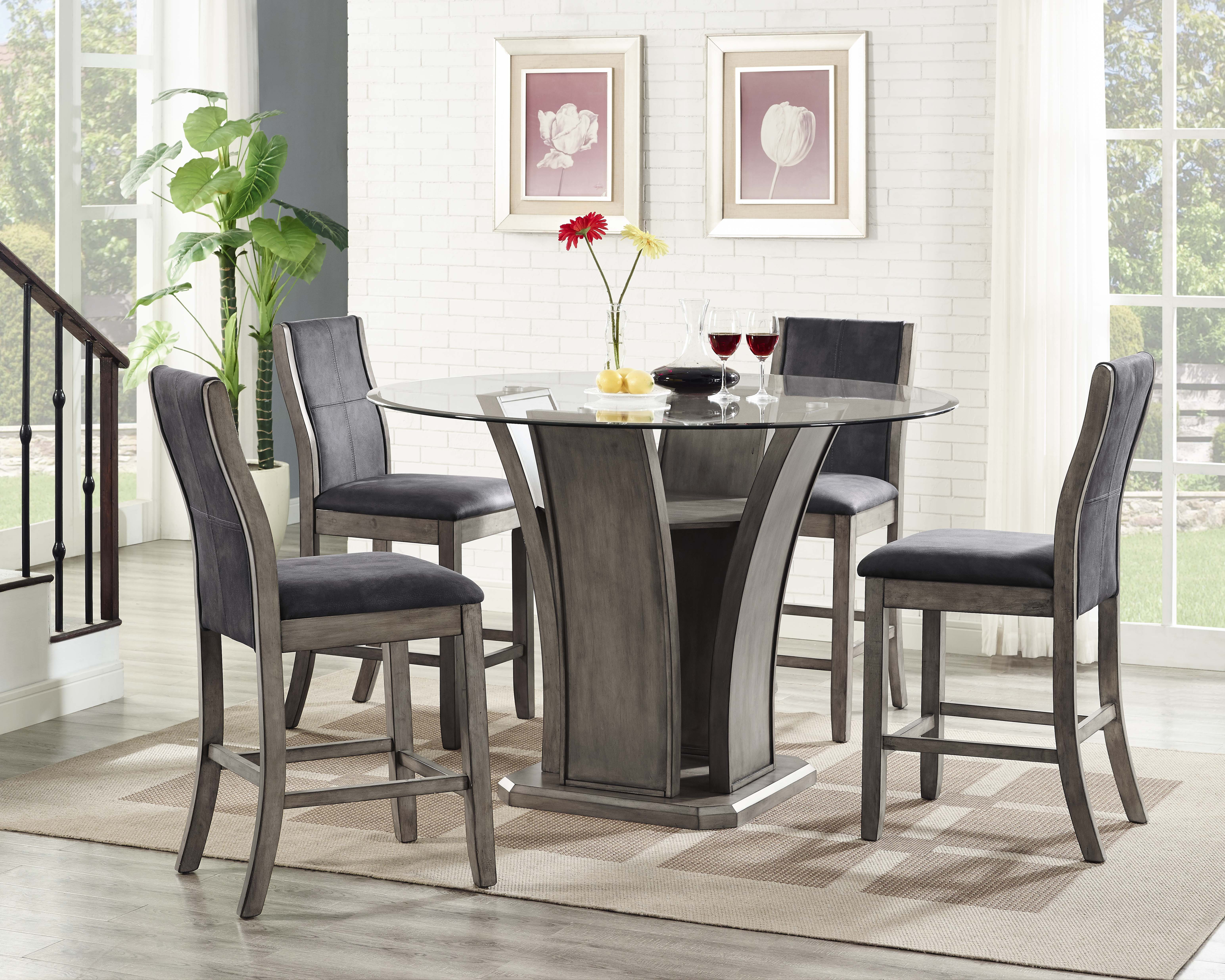 Picket House Furnishings Dylan Round Counter 5PC Dining Set Table U0026 4 Side  Chairs