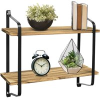 Greenco 2 Tier Rustic Wall Mounted Floating Shelf With Metal Brackets For Living Room, Dining Room, Office, Bedrooms.