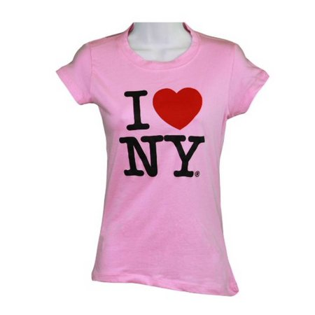 Light Pink Heart (I Love NY New York Womens T-Shirt Spandex Tee Heart Light Pink)