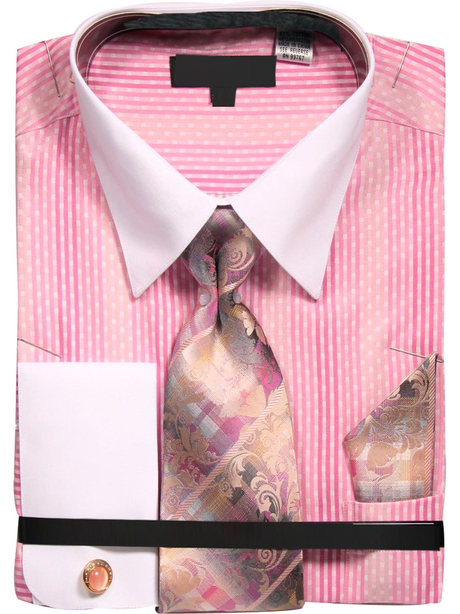 Men's Starburst Pattern Shirt with Tie Handkerchief Cufflinks